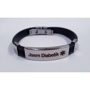 """Náramek """"Jsem Diabetik"""" - černý proužek"""
